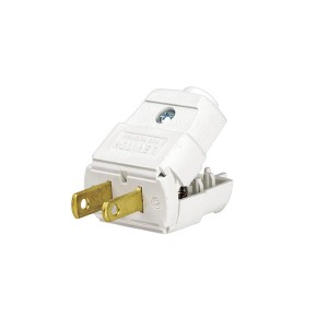 Plug - Straight Blade - Residential Grade - 15A - 125V - NEMA 1 - 15P - 2-Pole - 2-Wire - Polarized - Non-Grounding - White