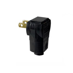 Non-Polarized Angle Plug - 2-Pole - 2-Wire - 15 Amp -125 Volt - Black
