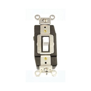Connector - Extra Heavy-Duty Industrial Grade - Toggle Style - 3A - 30V AC/DC - Grounding - Back & Side Wired - Single-Pole Double-Throw - White