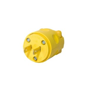 Plug - Residential Grade - Straight Blade - 15A - 125V AC/DC - NEMA 1-15P - Non-Polarized - Non-Grounding - 2-Pole - 2-Wire - Yellow