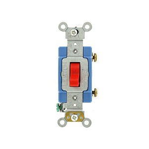 Toggle Locking Single-Pole AC Quiet Switch - Industrial Grade - 15A - 120/277V - Back & Side Wired - Self Grounding - Red