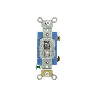 Toggle Switch - Industrial Grade - 15A - 120V - Back & Side Wired - Self Grounding - Clear