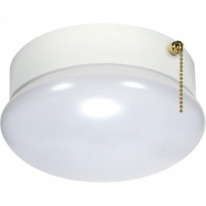 LED Utility Fixture - Pull Chain- White - 13.5W - 3000K Warm White- 7 inch - Dimmable - 120V AC