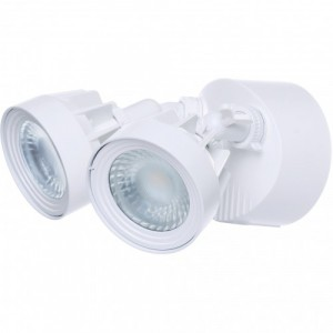 LED Security Light - Dual Head - 24W - 3000K Warml White - 120-277V AC -White Finshed
