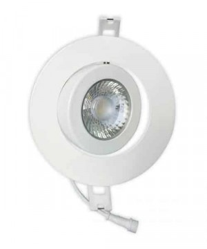 LED Gimbal Slim Round Panel - White - 10W - 4 inch - 5000K Cool White - 120V AC