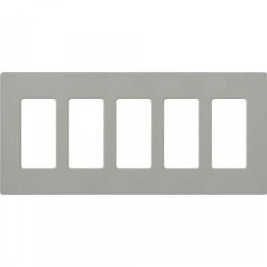 Claro Wall Plate - 5-Gang - Grey
