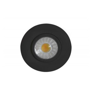 LED Slim Panel Gimbal Downlight (Round) - 8W - 3 inch - 3000K Warm White - Dimmable - 120V AC - Black - Triac Warm Dim