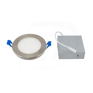 LED Slim Panel (Round) - 9W - 4 inch - 3000K Warm White - Dimmable - 120V AC - Brushed Nickel