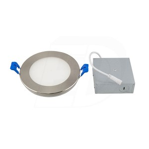 LED Slim Panel (Round) - 12W - 6 inch - 3000K Warm White - Dimmable - 120V AC - Brushed Nickel