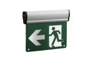 LED Edge Lit Running Man Exit Sign - 120/347V - Thermoplastic - Single & Double Sided