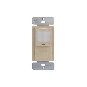 PIR Vacancy Sensor Switch - On/Off Push Button - 150 Degree - Incandescent and Fluorescent Control - In-Wall Mount - Ivory