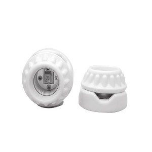 Porcelain Keyless Lampholder - Two Piece Receptacle - Two Screw Mounting - Medium E26 Base Socket