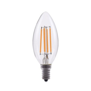 LED Candle Light Filament - 4W - 120V AC - E12 Base - 2700K Soft White