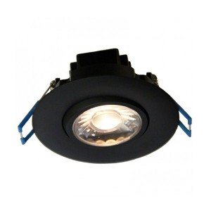 LED Gimbal Round Recessed Slim Panel - Black - 7.5W - 3 inch - 2700K Soft White - 120V AC