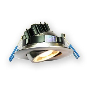 LED Gimbal Round Recessed Slim Panel - Brushed Nickel - 7.5W - 3 inch - 3000K Warm White - 120V AC