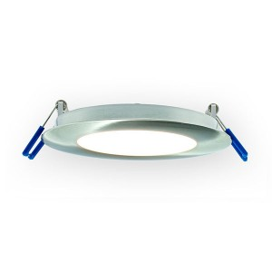 LED Round Super Thin Recessed Slim Panel - Brushed Nickel - 12W - 6 inch - 3000K Warm White - 120V AC