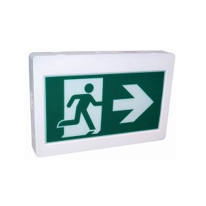 LED Running Man Exit Sign - 120-347V AC/3.6-24V DC - Thermoplastic ABS Housing - No Battery - Backup time: >90mins