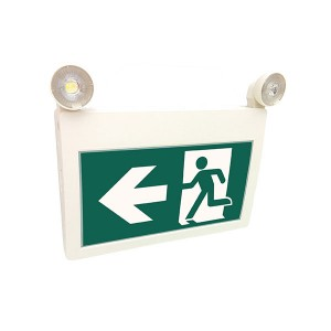 LED Running Man Exit Sign - 120/347V - Thermoplastic ABS Housing - Battery backup for 3 hours - 2x1W LED Heads