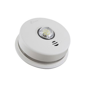 3-in-1 LED Strobe and 10-Year Talking Smoke & CO Alarm - 120 V AC & Sealed 3 V Lithium Battery Backup