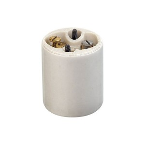 Incandescent Lampholder - Glazed Porcelain - Medium Base - Mounting Screws - Single Circuit - Back Wired - White