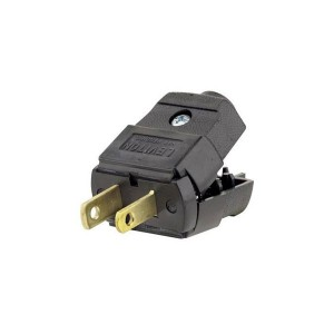 Plug - Straight Blade - Residential Grade - 15A - 125V - NEMA 1 - 15P - 2-Pole - 2-Wire - Polarized - Non-Grounding - Black