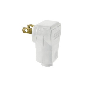 Non-Polarized Angle Plug - 2-Pole - 2-Wire - 15 Amp -125 Volt - White