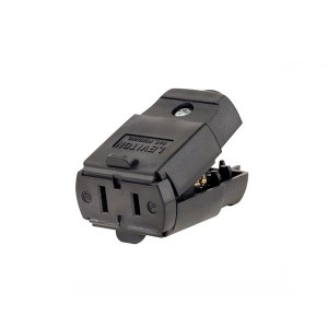 Connector - Residential Grade - Straight Blade - 15A - 125V - NEMA 1-15R - 2-Pole - Polarized - Non-Grounding - Black