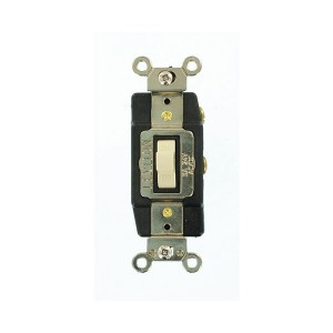 Connector - Industrial Grade - Toggle Style - 3A - 24V AC/DC - Grounding - Back & Side Wired - Single-Pole - Ivory