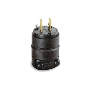 Plug - Residential Grade - Straight Blade - 15A - 125V AC/DC - NEMA 1-15P - Non-Polarized - Non-Grounding - 2-Pole - 2-Wire - Black