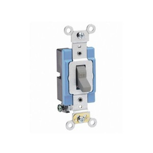 Toggle Single-Pole AC Quiet Switch - Extra Heavy Duty Spec Grade - 15A - 120/277V - NEMA 1-15P - Back & Side Wired - Self Grounding -Grey