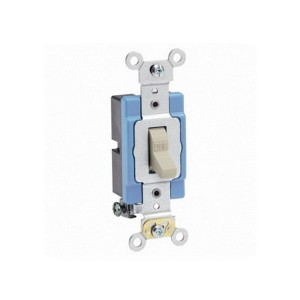 Toggle Single-Pole AC Quiet Switch - Extra Heavy Duty Spec Grade - 15A - 120/277V - NEMA 1-15P - Back & Side Wired - Self Grounding - Ivory