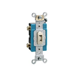 Toggle Locking Single-Pole AC Quiet Switch - Industrial Grade - 15A - 120/277V - Back & Side Wired - Self Grounding - Ivory
