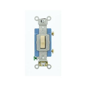 Toggle Switch - Industrial Grade - 15A - 120V - Back & Side Wired - Self Grounding - Ivory