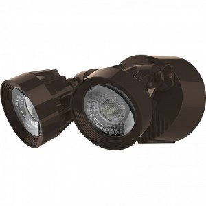 LED Security Light - Dual Head - 24W - 3000K Warml White - 120-277V AC -Bronze Finshed
