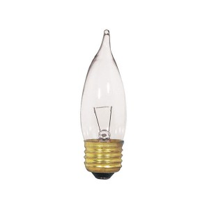 Decorative Bulb - CA10 - 40W - E12 Base - Clear - 130V AC - 25 Packs