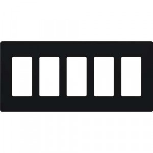 Claro Wall Plate - 5-Gang - Black