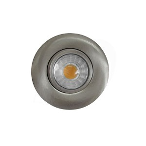 LED Slim Panel Gimbal Downlight (Round) - 6W - 3 inch - 3000K Warm White - Dimmable - 120V AC - Brushed Nickel - Triac Warm Dim