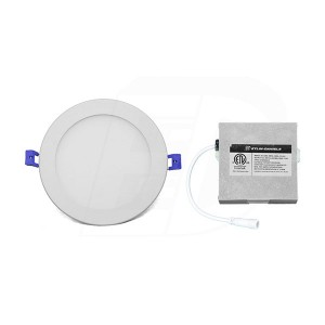LED Slim Panel (Round) - 9W - 4 inch - 3000K Warm White - Dimmable - 120V AC - White