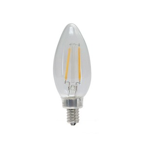 LED Candle Light Filament Clear - 3W - 120V AC - E12 Base - 2200K Soft White