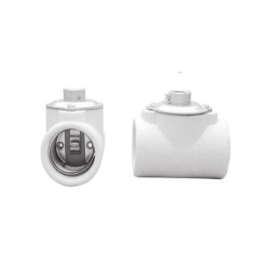 "Short Body Twin Porcelain Keyless Lampholder - With 1/8"" IPS Bushing - Medium E26 Base Socket"