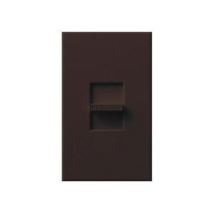 Nova T - 3-Wire Flourescent - Slide-to-Off Dimmer - Brown - 120V - 16A - Wall Plate Included