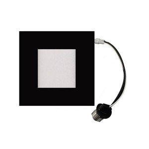 LED Square Recessed Retrofit Ultrathin Slim Panel - Black- 12W - 4 inch - 3000K Warm White - 120V AC