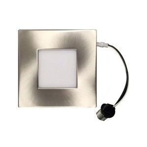 LED Square Recessed Retrofit Ultrathin Slim Panel - Brushed Nickel - 12W - 4 inch - 3000K Warm White - 120V AC