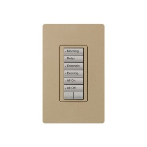 Radio RA2 - Hybrid keypad - 6 Button - W/ Raise/Lower Keypad - 120V - 450W Max. - Mocha Stone