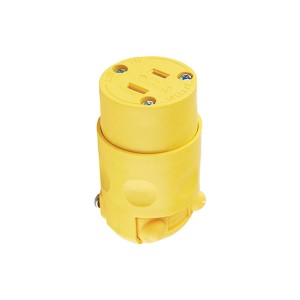 2 Wire Connector - 2 Pole - Nema 1-15R - 15A - 125V AC/DC - Polarized - Yellow - Rubber w/ Vinyl Insert